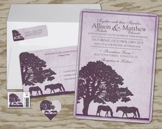 Huge Collection of Equestrian Wedding invitations! Lots to choose from with lots of different colors and beautiful horses for the country farm wedding or engagement party! Horse lovers will love these equine invites! This one shows a purple set but there is also a blue and a brown and ivory colored version of the invite shown too! Lots of other designs at this site!