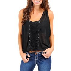 Cropped Black Sleeveless Top With Studs & Hanging Draped Fringe Size Large Do & Be. $23.99. 100% Polyester. polyester. Loose & Comfortable Fit. Imported