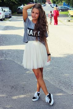 I'd totally wear this in the spring :) girly meets skater-ish?