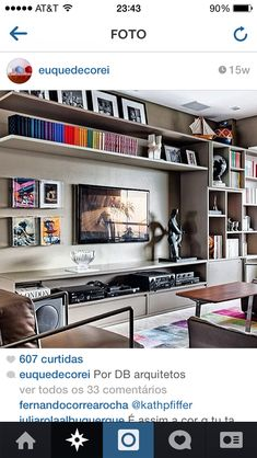 Unique ideas for some great TV wall decor! Transform your home with the help of our inspiring images and see some amazing TV wall design taking place! Living Room Tv, Home And Living, Living Spaces, Small Living, Bookshelf Living Room, Bookshelves Tv, Living Room Storage, Modern Living, Tv Wall Decor