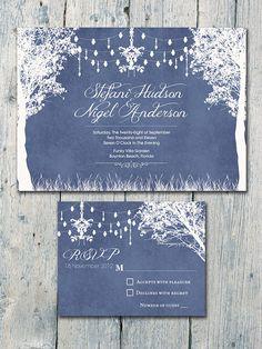Set of 50 Navy In the Winter Garden Wedding by WeddingSundaeShop