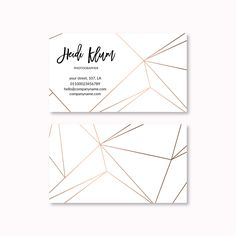 Business Card Template, Geometric, Lines, Modern, Minimalist, Minimal, Business Card, Rose Gold Business Card by PeachCreme on Etsy