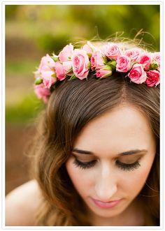 pink rosette headpiece