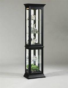 Madison Black Glass Wood Metal Curio Cabinet