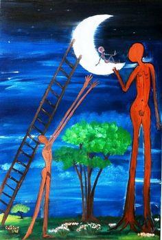 Zam Cifuentes - Mi hijo en la Luna.  Oleo sobre lienzo 60 x 40. Art for Sale. pil4rblasco@gmail.com