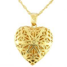Colar Com Coração Relicário Semi-jóia - Rivera Jóias
