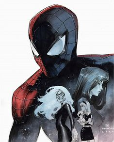 Spider-Man (Black Cat, Mary Jane Watson and Gwen Stacy) by Dike Ruan * Marvel Art, Marvel Dc Comics, Marvel Heroes, Marvel Characters, Fictional Characters, Comic Book Artists, Comic Artist, Comic Books Art, Spider Art