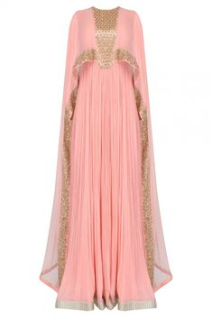 Pink pleated anarkali set with attached mirror work sheer cape available only at Pernia's Pop Up Shop. Abaya Fashion, Muslim Fashion, Fashion Dresses, Mode Abaya, Mode Hijab, Indian Dresses, Indian Outfits, African Fashion, Indian Fashion