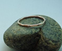 Rose Gold Ring Thin Ring Delicate Hammered by JewelrybySkye, $20.00