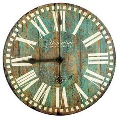 Antique Blue Round Wall Clock