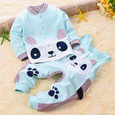 Newborn baby clothes set Spring Autumn Cartoon Panda Long sleeved shirt Overalls babykleding jongen Infant boy girl baby suit