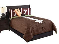 Hallmart Kids 43666 6-Piece Touchdown Comforter Set, Full, Brown/Green Hallmart Kids