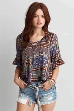 AEO Lace-Up Bell Sleeve T-Shirt  by AEO | This season, we're loving lace, intricate embroidery and feminine details.  Shop the AEO Lace-Up Bell Sleeve T-Shirt  and check out more at AE.com.