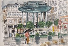 Urban Sketchers Spain. El mundo dibujo a dibujo.: Siempre nos quedará Betanzos (I) Drawing Sketches, Drawings, Shore Excursions, Urban Sketching, Landscape Art, Taj Mahal, Medieval, Spain, Painting