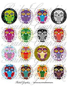 Cartoon Cute Little Owls Digital Collage Sheet 2 inch Circles images for glass tiles resin pendants cabochon button DIY craft JPG by BaikalGraphics, $3.50