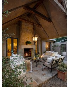 Outdoor living room and fireplace. French Farmhouse by Giffin & Crane. Browse inspirational photos of modern outdoor spaces. From yards and gardens to patios and pools, explore design options for the ideal outdoor escape. Patio Design, House Design, Backyard Designs, Garden Design, Landscape Design, Design Room, Design Hotel, Cottage Design, Modern Outdoor Living