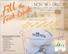 Let's nourish our community! The Bar Method Silver Lake Holiday Food Drive will begin on November 14th - December 14th. Bring in 5 (or more) non-perishable items and get 2 FREE classes. You can gift them to a friend or save them for another time. *One offer per person. Classes expire in 1 year.