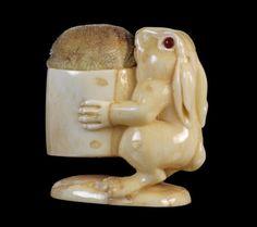 c.1900 ~ Antique Ivory Rabbit Pincushion ....