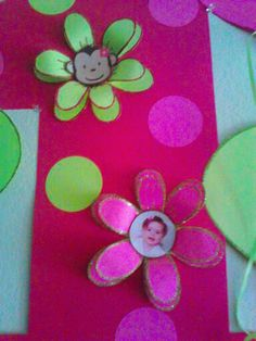 1st Birthday banner with theme and child's image in flower