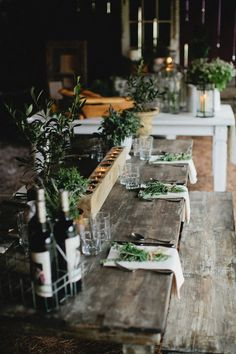Love the rustic nature of this .... greenery/wood/candles ...Photography: Kristyn Hogan - http://kristynhogan.com Read More: http://stylemepretty.com/2013/09/06/french-farm-inspired-photo-shoot-from-kristyn-hogan-cedarwood-weddings/