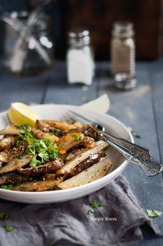 Potato-Eggplant 8-10 small eggplants. 3 potatoes, medium size. 1 teaspoon cumin seeds. ½ teaspoon red pepper flakes (use less if you like less heat) 1 teaspoon sumac (optional) Salt and pepper as per taste. Lime juice (for sprinkling on top) ¼ cup of chopped cilantro.