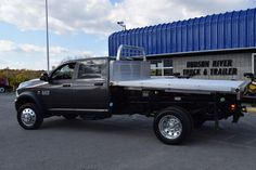 Sawyer Motors supplied this Ram 5500 chassis and we finished it off with a dumping DuraMag alum flatbed. #webuildworktrucks