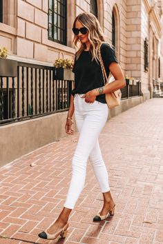 Best White Jeans, Black Top And Jeans, White Skinny Jeans, White Skinnies, Black Pants, Beige Outfit, Jean Outfits, Casual Outfits, Fashion Outfits