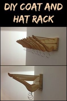 Add more storage in your home by turning clothes hangers into a coat, hat, and handbag rack!
