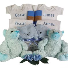 This gorgeous personalised twin gift basket with its cute teddy's will make the perfect gift for baby twins. This twin baby gift basket arrives with two of everything including 2 personalised baby body suits and 2 personalised baby bibs, 2 cute large teddy bears along with a knitted teddy hat for both twins as well as 2 matching coloured muslin baby wraps 2 pairs of baby socks. Baby Twins, Twin Babies, Triplets, Large Teddy Bear, Teddy Bears, Cane Baskets, Gift Baskets, Twin Baby Gifts, Triplet Babies