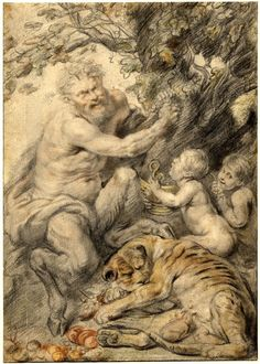 A satyr with two children and a leopard, suckling two young, after Peter Paul Rubens; the satyr pressing the juice of grapes into a brass bowl held by a young satyr Black chalk, with coloured chalks Peter Paul Rubens, Greek Mythology Tattoos, Roman Mythology, Keith Haring Art, Archangel Raphael, Baroque Art, Principles Of Art, Albrecht Durer, Caravaggio