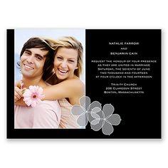 Floral Photo - Black - Invitation