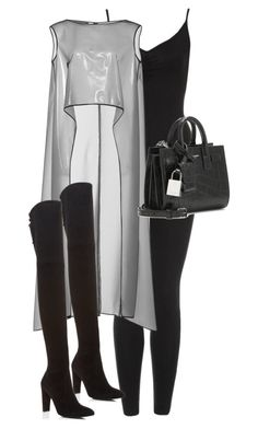 """""""Untitled #10339"""" by alexsrogers ❤ liked on Polyvore featuring Monique Lhuillier, Stuart Weitzman and Yves Saint Laurent"""