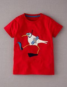 Mini Boden, Seaside T-shirt, Red/Seagull