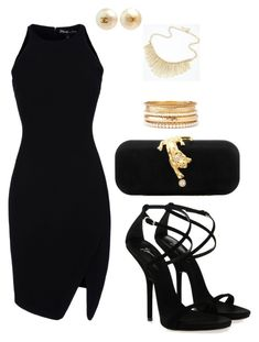 """Black and gold!"" by lynncas ❤ liked on Polyvore featuring Elizabeth and James, Giuseppe Zanotti, Talullah Tu, Chanel, Charlotte Russe and evening"