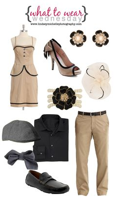 "Retro-style ""What to Wear Wednesday."" Sources for couples outfits, perfect engagement outfit!"