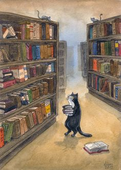 Poor overworked Kitty Librarian. She works so hard, but it's for the love of books! By Liselotte-Eriksson. -- eaf