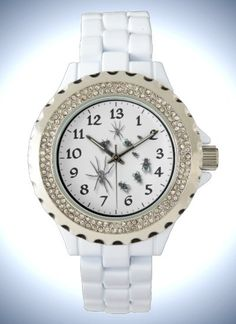 Funny Women's Rhinestone White Enamel Watch with 13 hours dial for more time a day.