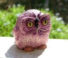 Handmade Ceramic BIG PURPLE OWL With Yellow