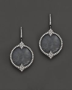 Di Massima Blackened Sterling Silver, Gray Chalcedony & Diamond Earrings | Bloomingdale's