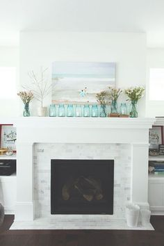 marble tile fireplace surroun - Google Search