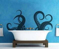 Whimsical octopus in the bathtub on a blue wall.