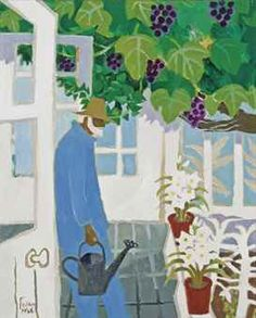 """""""Julian in the Greenhouse"""" by Mary Fedden, 1986 (oil on canvas)"""