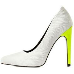 Charlotte Russe Qupid Neon-Heel Pointed Toe Pumps