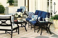Navy and white outdoor furniture