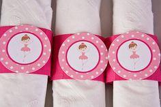 Ballerina Napkin Rings Baby Shower - Hot Pink & Light Pink