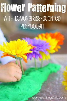 flower patterning and DIY Lemongrass Play Dough Recipe - fun sensory activity and math skills!