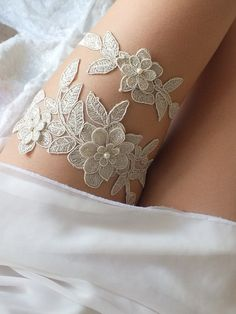 free ship champagne lace garter set bridal by ByMiracleBridal