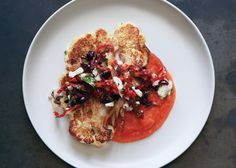Cauliflower Steaks with Olive Relish and Tomato Sauce Recipe - Bon Appétit