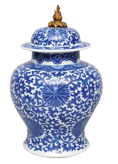 A cover-vase with ornamental chrysanthemum-decoration    China, 18th cent. (Qing-dynasty 1644-1911). Porcelain with fine blue painting. Baluster body with domed cover (pommel-mounting added). At the wall and the cover a revolving decoration with chrysanthemum flowers on a dense foliage-underground. Double circle marke. Small circular opening in the bottom. H. 30,5 cm.