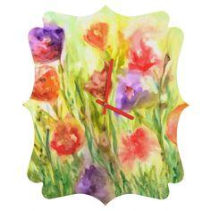 Rosie Brown Summer Flowers Quatrefoil Clock | DENY Designs Home Accessories   #clock #time #art #homedecor #wall #denydesign #flowers #garden